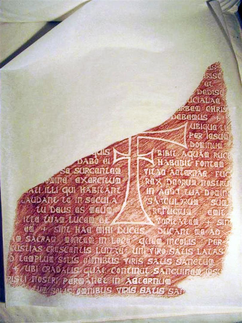 Calco de la tablilla del grial. Grial tablet rubbing